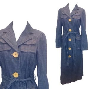 Marc Jacobs Blue Denim Trench Coat XS